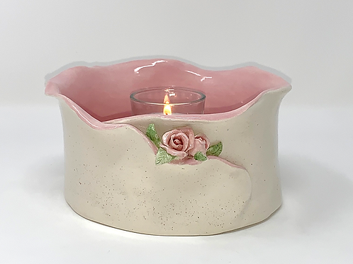 Soft Pink Natural and Rose Earthenwear Luminary and Planter
