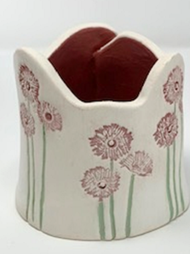 Small Rose and Green Garden Themed Vase
