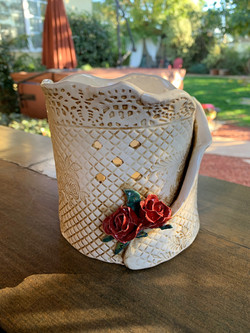 Antiqued Luminary with Red Roses for Jill
