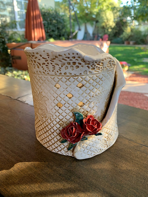 Antiqued Glazed Luminary with Deep Red Roses