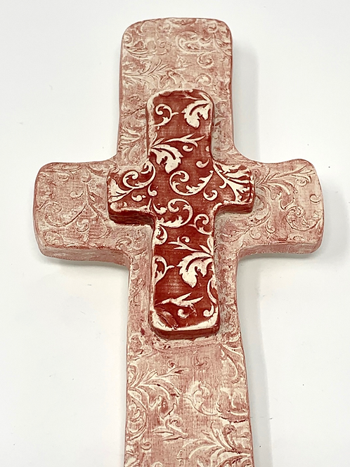 Red Lace Patterned Wall Cross