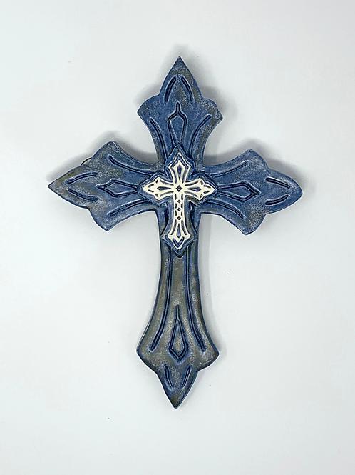 Midnight Blue Sculptured Wall Cross