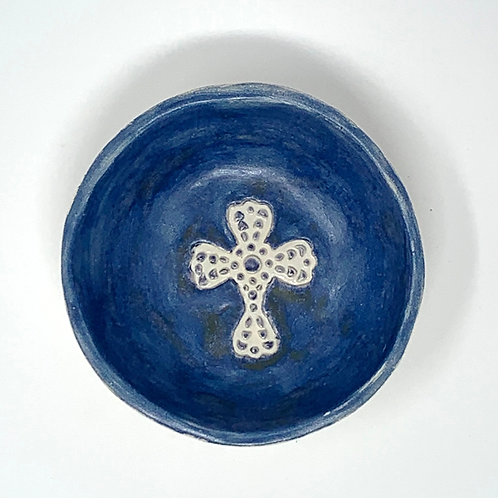 Deep Blue + Bronze Holy Water Font and Bowl
