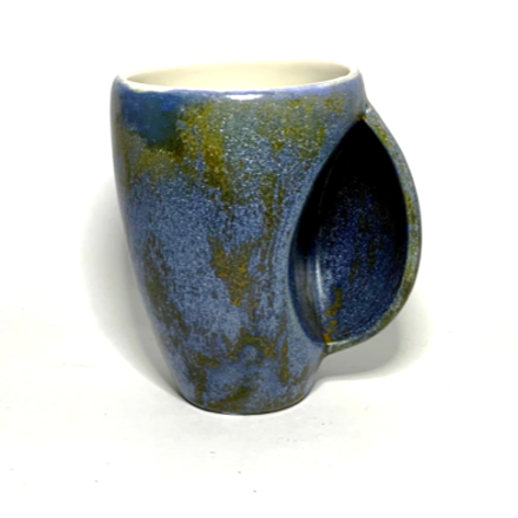 Blue and Gold Shimmering Hand-Warming Coffee Mug