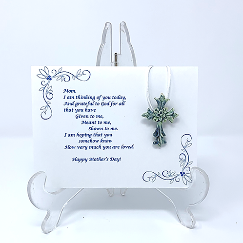 Mother's Day Ceramic Cross Pendant with Greeting Card - Blue