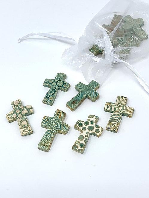"10 Green Ceramic ""Pocket Crosses"" in Organza Gift Bag"