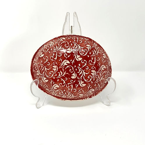 Red Floral Pattern Shallow Bowl