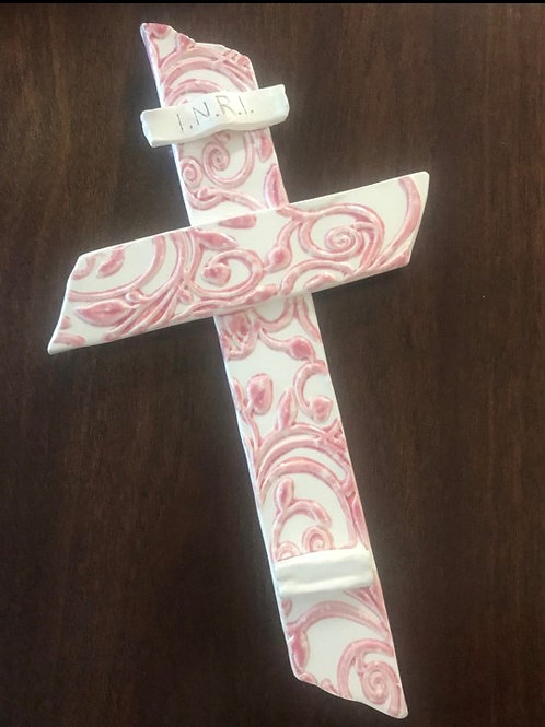 White Bisque Wall Cross with Pink Glazed Accents