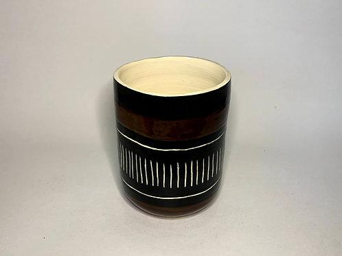 Black and Brown Sgraffito Vase or Utensil Holder