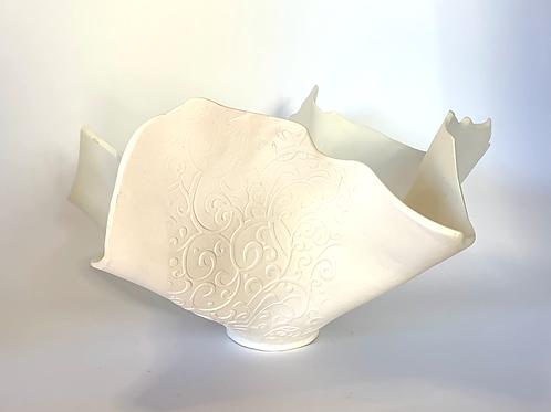 Organic White Bisque Lace Bowl