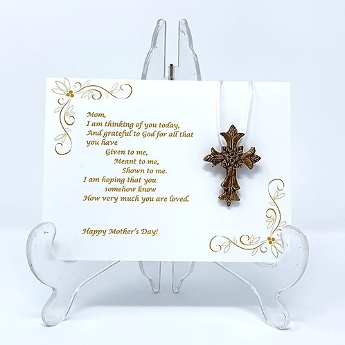 Mother's Day Ceramic Cross Pendant with Greeting Card - Warm Oak