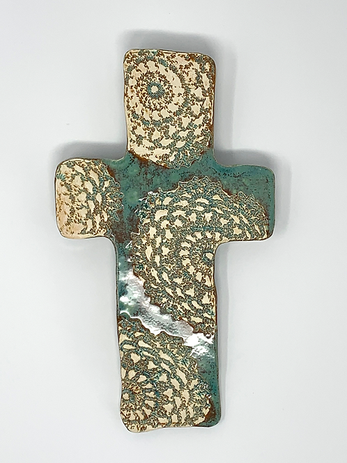 Earthen Green and Brown Lace Wall Cross