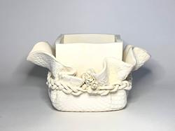 White (Ceramic) Fabric Draped Box