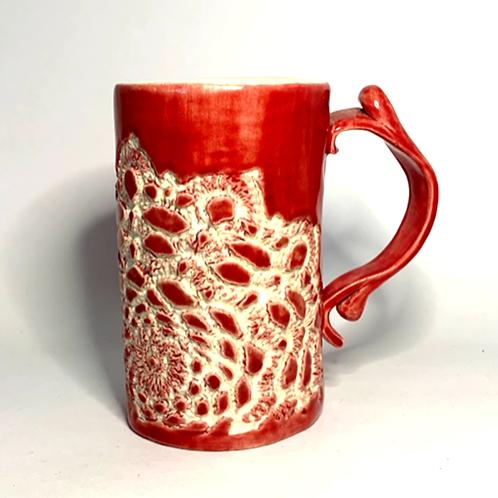 Crimson Red Lace Coffee Mug
