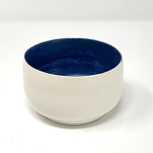 Deep Blue and Natural Bisque Bowl