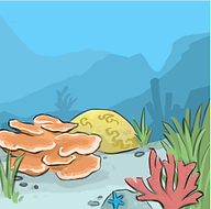 coral reef, marine biology, ocean, digital art, scientific illustration, cartoon, Brianna Leahy Art, colorful, Coral County Comic