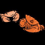 Trapezia crab, guard crab, marine biology, ocean, coral crabs, digital art, scientific illustration, Brianna Leahy Art, cartoon