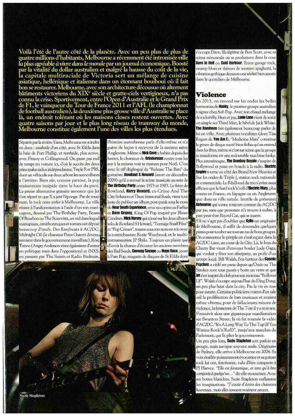 Rock & Folk Magazine March 2013 Melbourne Music