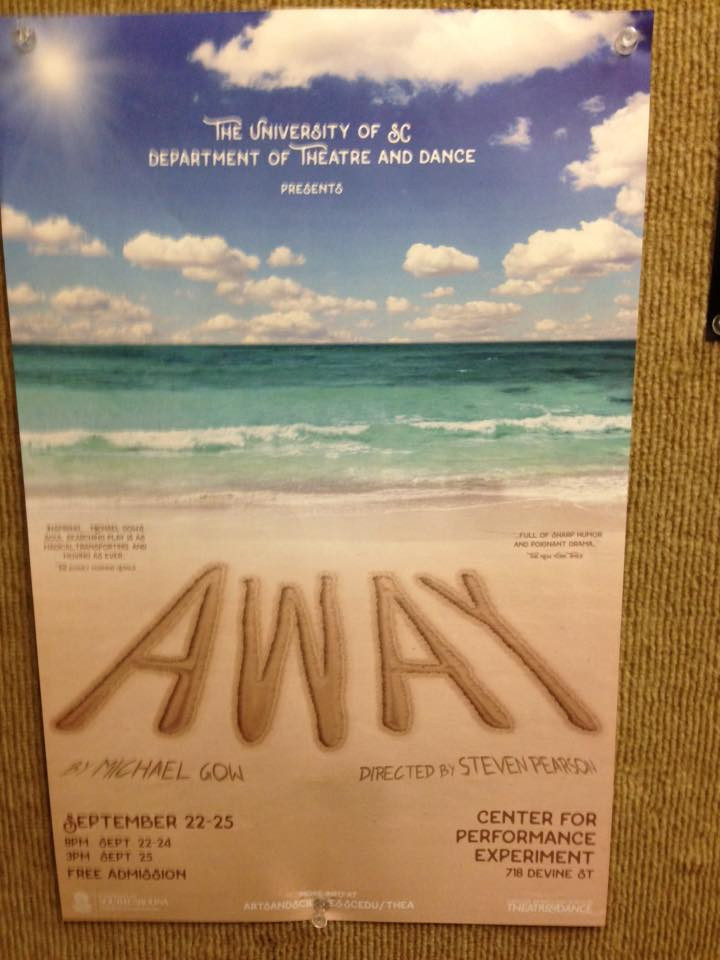 Our show poster in the elevator at Longstreet!