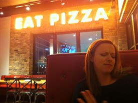 Dancing with myself and some deep dish pizza :)