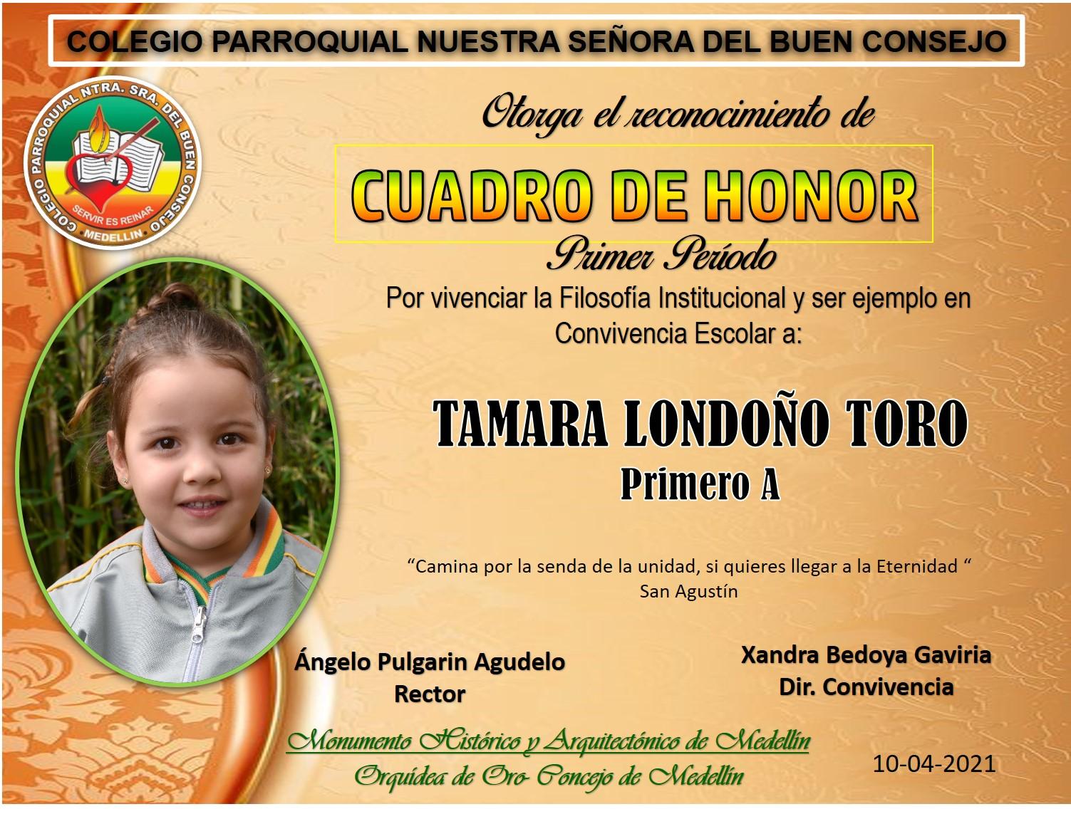 1°A TAMARA LONDOÑO TORO