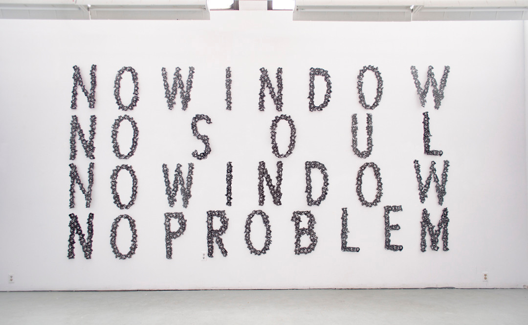 """No Window No Soul    Various studio installations, Banff Centre for Arts and Creativity  2017  Linocut     These installations are a result of a simple question of whether the eyes equate an internal soul or not. It is in response to the colloquial saying, """"the eyes are the window to the soul"""". These prints have been my method of visually dissecting words that ignore the population who do not share the privilege of full sight and which are commonly accepted as truth. I was interested in the mantra-esque rhythm of reading the words in a circle, never reaching a conclusion and always giving up without any solution.      The letters were designed and carved into linoleum, printed on an etching press on mulberry paper."""