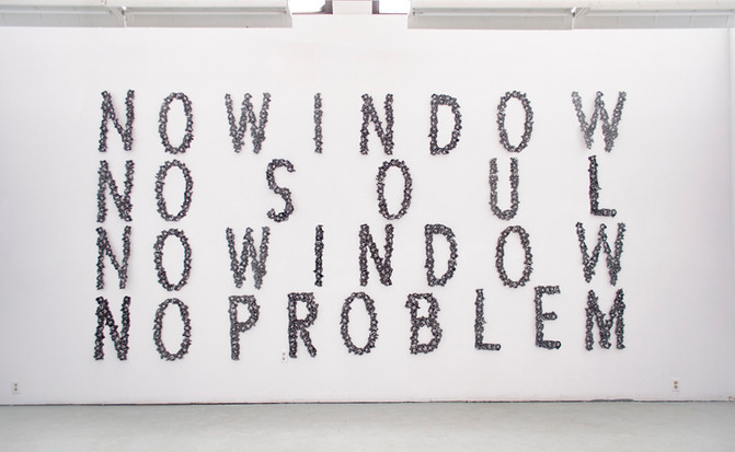 "No Window No Soul  ​  Various studio installations, Banff Centre for Arts and Creativity  2017  Linocut   ​  These installations are a result of a simple question of whether the eyes equate an internal soul or not. It is in response to the colloquial saying, ""the eyes are the window to the soul"". These prints have been my method of visually dissecting words that ignore the population who do not share the privilege of full sight and which are commonly accepted as truth. I was interested in the mantra-esque rhythm of reading the words in a circle, never reaching a conclusion and always giving up without any solution.    ​  The letters were designed and carved into linoleum, printed on an etching press on mulberry paper."