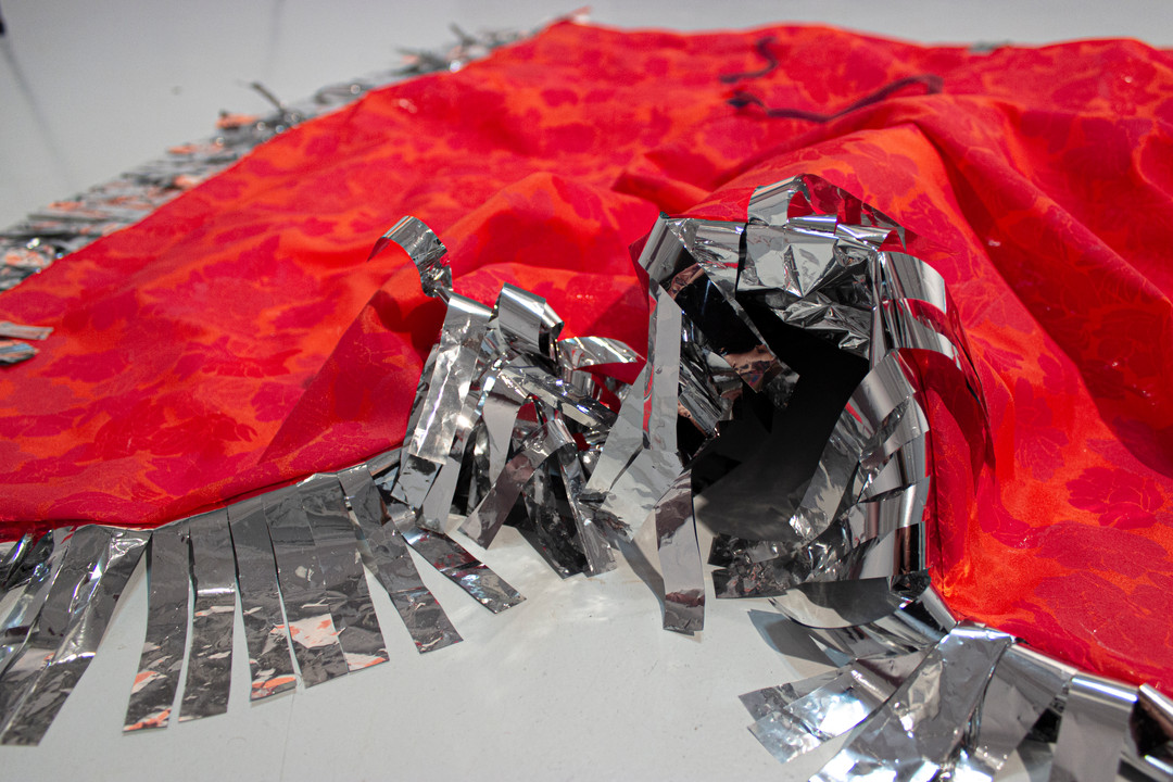 Silkscreen on polyester satin, cut chiffon, emergency blanket 2019