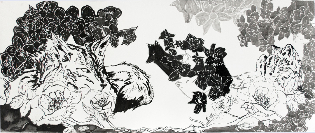 "Spectre Fox I  Ink on Somerset  30"" x 72""  2015"