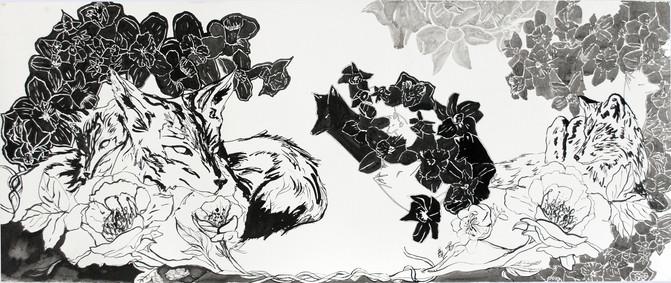 "Spectre Fox I  Ink on Somerset  30"" x 72""  2015"