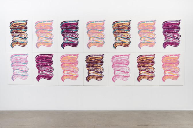 Silkscreen on paper 2018  Made with the support of a Visual Arts and New Media Individual Project Grant from the Alberta Foundation for the Arts  Photo credit: Chelsea Yang-Smith