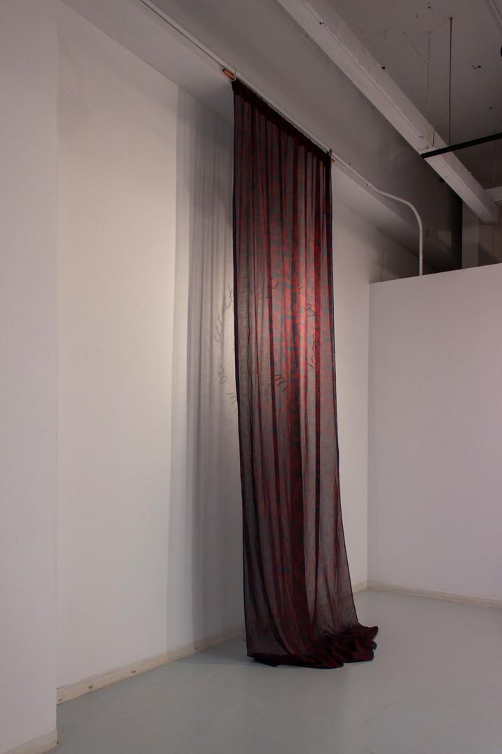 Silkscreen on linen, cut and tack sewed chiffon, silkscreen on wall, lights 2019