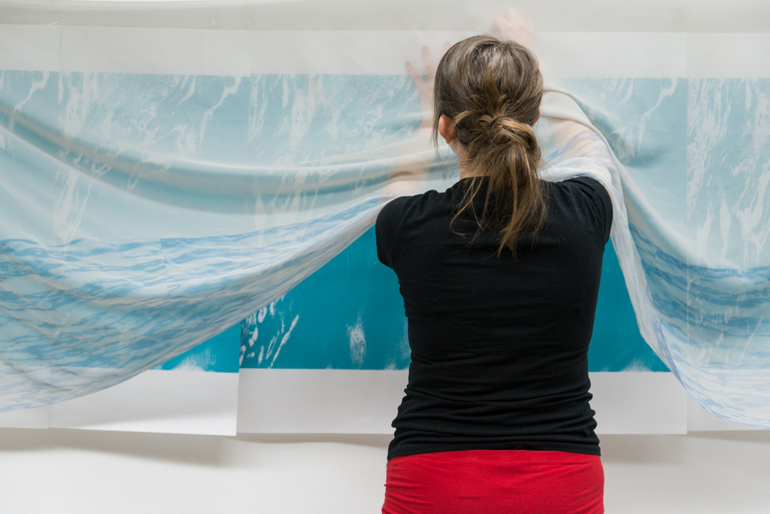 Silkscreen on paper and chiffon 2018  Made with the support of a Visual Arts and New Media Individual Project Grant from the Alberta Foundation for the Arts  Photo credit: Chelsea Yang-Smith