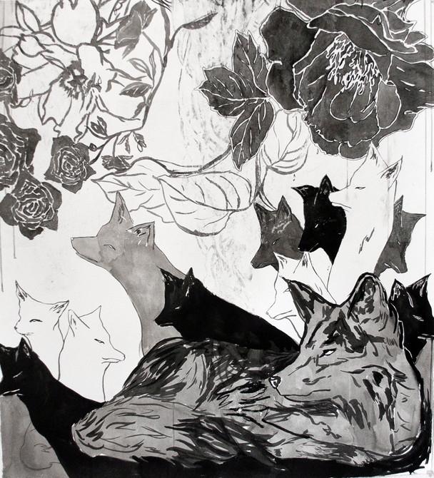 """Spectre Fox II  Ink on Somerset  33"""" x 30""""  2015"""