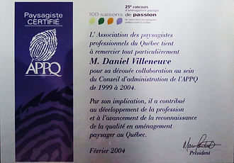 APPQ Remerciement Daniel Villeneuve, Candide Villeneuve Paysagiste