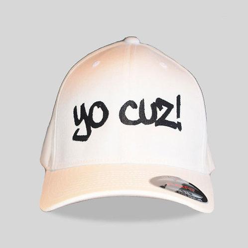 """White & Black """"Yo Cuz"""" Hat"""