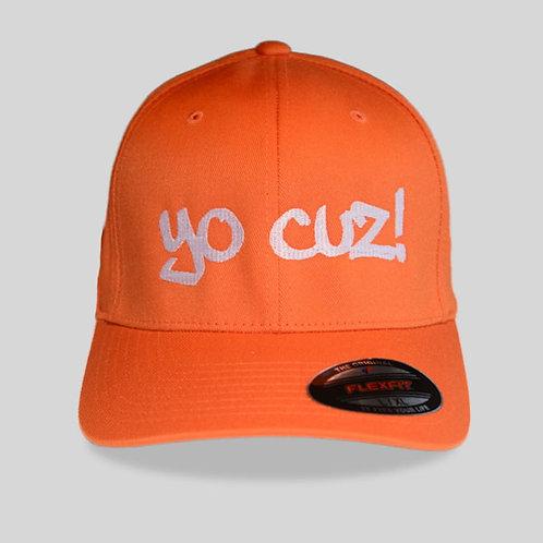 """Orange & White """"Yo Cuz"""" Hat"""