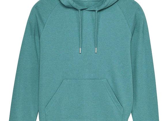 Womens Organic Cotton hoodie Heather Eucalyptus - XS