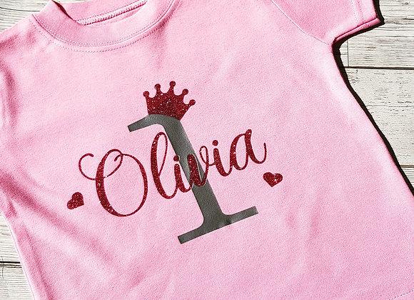 Girls Crown Birthday T-shirt