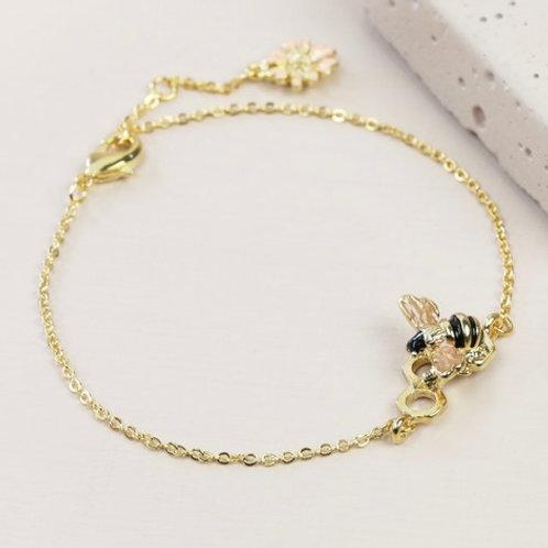 Honeycomb Bumble Bee bracelet - Gold