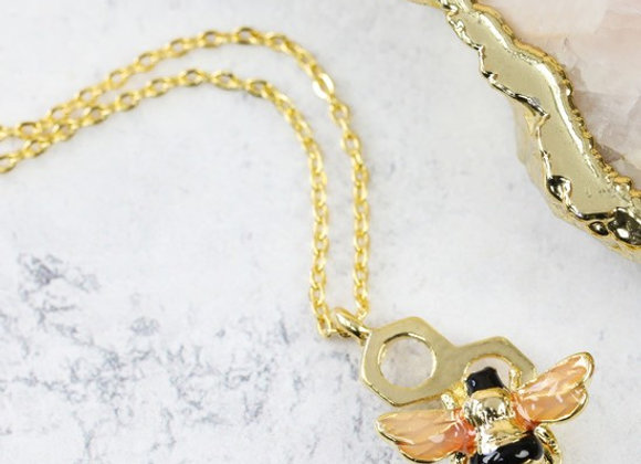 Honeycomb Bumble Bee Necklace - Gold