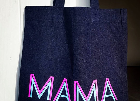 MAMA Neon Glitter Tote Bag
