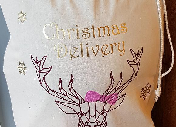 Christmas present sack - Geometric Reindeer