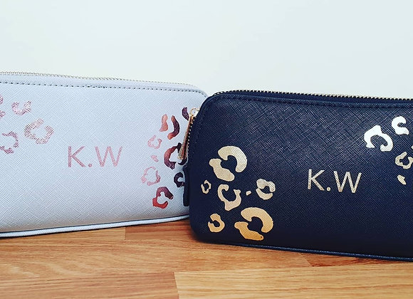 Leopard print personalised initial cosmetic bag