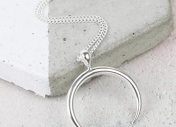 Sterling silver horn necklace
