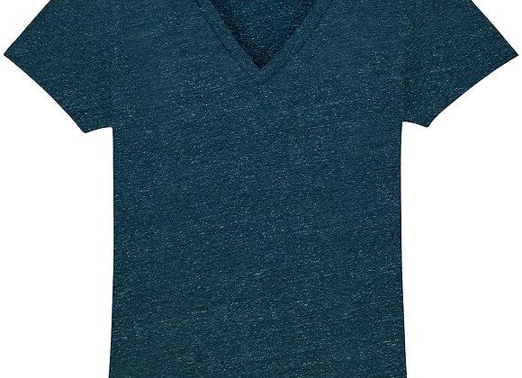 Cotton T-shirt V Neck Dark Heather Denim - XS