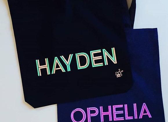 Name Neon Glitter Tote Bag