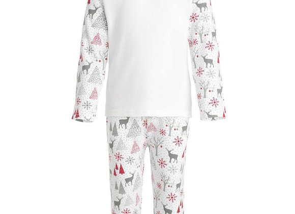 Grey and Red Reindeer Print Pyjama Set 2-3 years