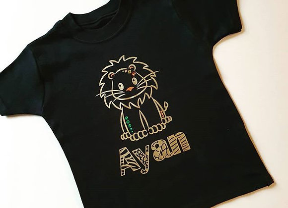 Lion and animal print T-shirt