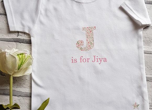 Flower letter T Shirt